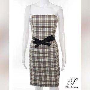 SHOSHANNA Brown/Wht Plaid Strapless Shift Dress